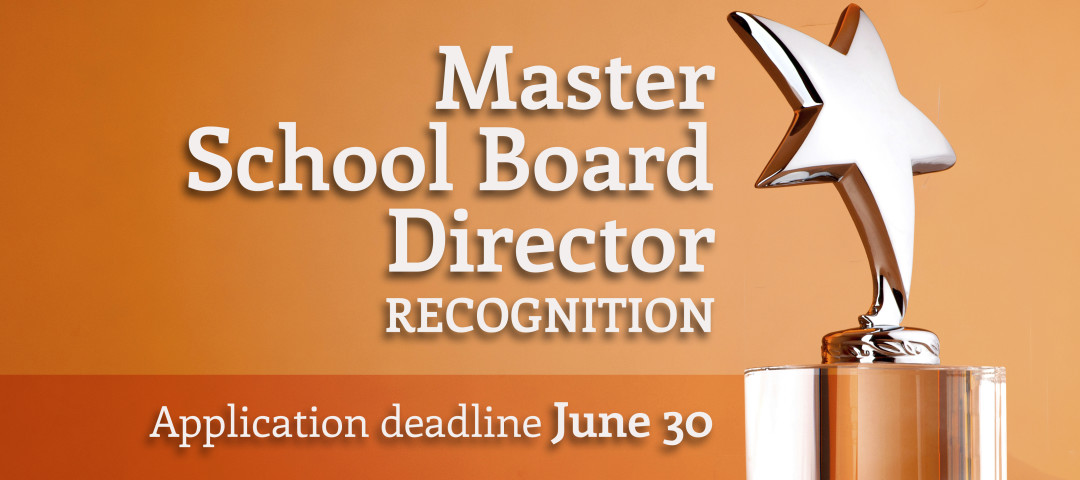 Master School Board Director Recognition -- Star award against gradient background