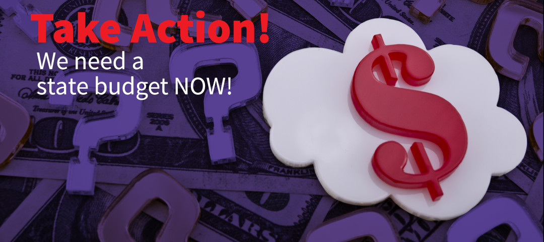 White cloud shape with a red dollar sign and golden question mark made of plexiglas lie on dollar background.
